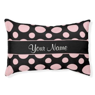 Pink Polka Dots On Black Background Pet Bed