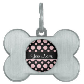 Pink Polka Dots On Black Background Pet ID Tag