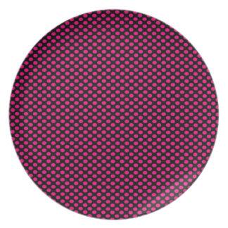 Pink Polka Dots on Black Plate