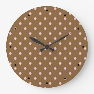 Pink Polka Dots On Brown Background Large Clock