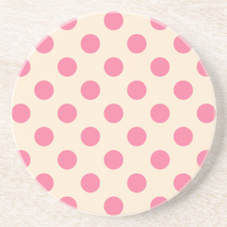 Pink polka dots on cream coaster
