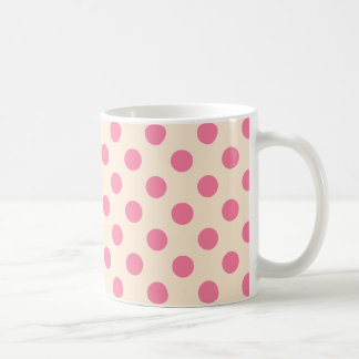 Pink polka dots on cream coffee mug