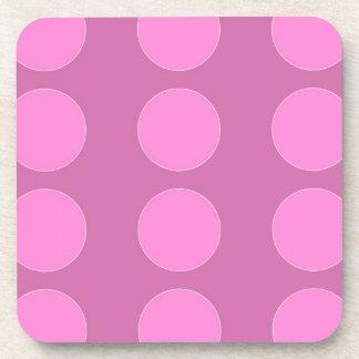 Pink Polka Dots on Darker Pink Pattern Gifts Coasters
