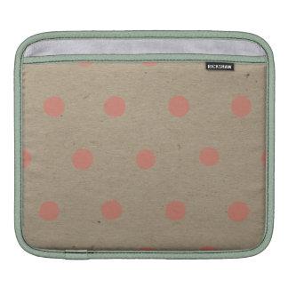Pink Polka Dots on Natural Vintage Speckled Beige iPad Sleeve