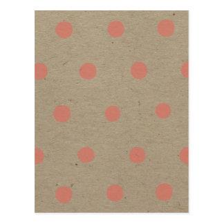 Pink Polka Dots on Natural Vintage Speckled Brown Postcard