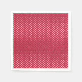 Pink Polka Dots on Red Paper Napkins
