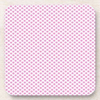 Pink Polka Dots on White Coasters