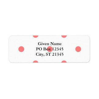 Pink Polka Dots on White Return Address Label
