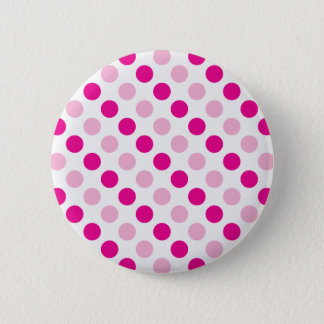 Pink polka dots pattern 6 cm round badge