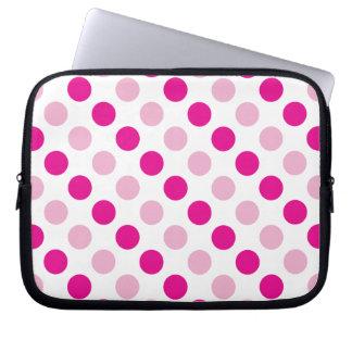 Pink polka dots pattern laptop sleeve