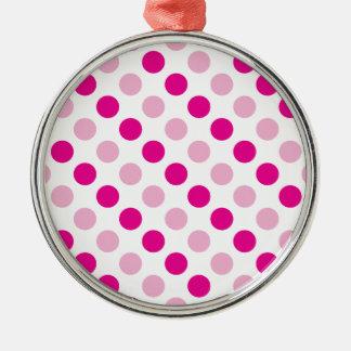 Pink polka dots pattern metal ornament