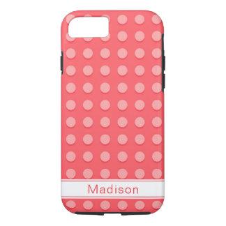 Pink Polka Dots Pattern Monogram iPhone 8/7 Case