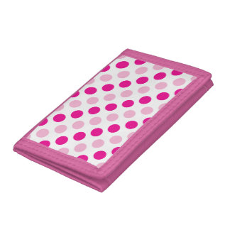 Pink polka dots pattern trifold wallets