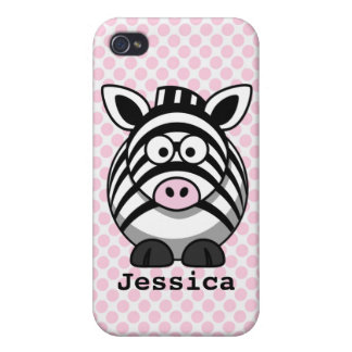 Pink Polka Dots Personalized Cute Zebra iPhone 4 Covers