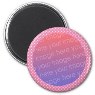 pink polka dots photo frame magnet