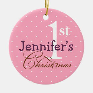 Pink  polka dots purple name baby first holiday ceramic ornament