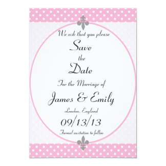 Pink Polka Dots Save The Date Notice 13 Cm X 18 Cm Invitation Card