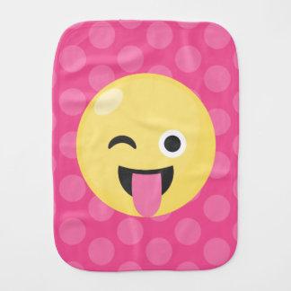 Pink Polka Dots Silly Emoji Burp Cloth