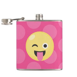 Pink Polka Dots Silly Emoji Flasks