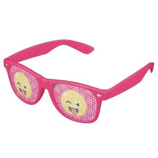 Pink Polka Dots Silly Emoji Retro Sunglasses