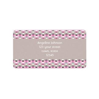 Pink Polka Dots Stylish Girl Adorable Trendy Address Label