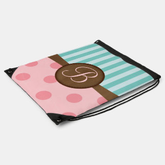 Pink polka dots teal stripes | monogram | custom drawstring bag