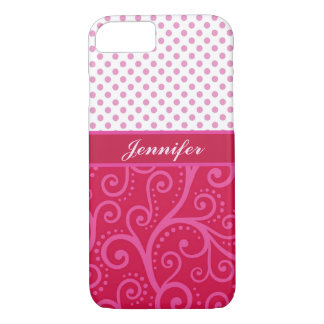Pink polka dots, tendrils, circles, personalized iPhone 8/7 case