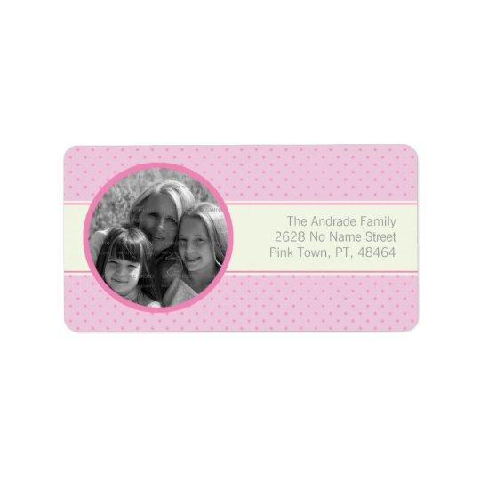 Pink Polka Dots White Stripe Custom Photo Template Label