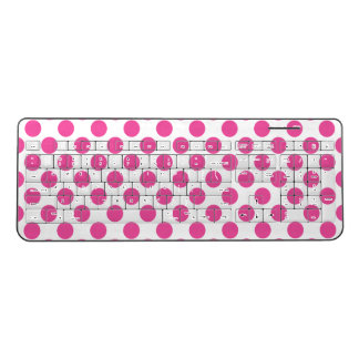 Pink Polka Dots Wireless Keyboard