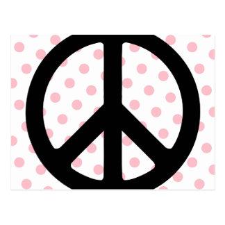 Pink Polka Dots with Black Peace Symbol Postcard