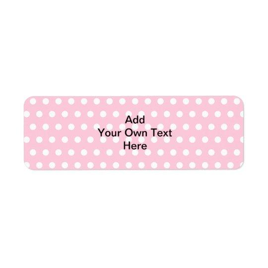 Pink Polka Dots, with Custom Black Text. Return Address Label