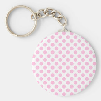Pink Polka Dots with Customizable Background Keychain