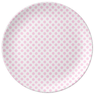 Pink Polka Dots with Customizable Background Porcelain Plate