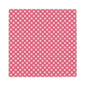Pink Polka Dots with Customizable Background Maple Wood Coaster