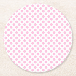 Pink Polka Dots with Customizable Background Round Paper Coaster