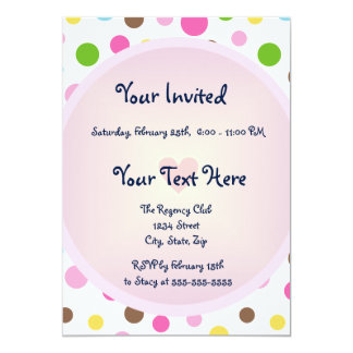 Pink Polka Dots with Heart Card