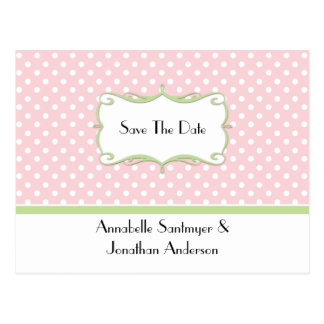 Pink Polka Dots with Pale Green Save The Date Postcard