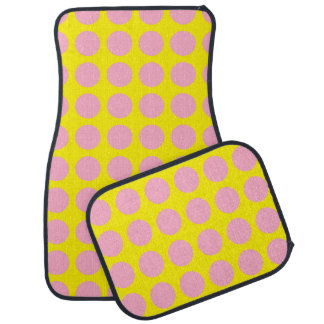 Pink Polka Dots Yellow Car Mat