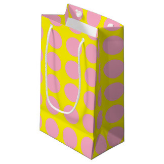 Pink Polka Dots Yellow Small Gift Bag