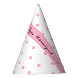 Pink Polka-Dotted Personalized Party Hats