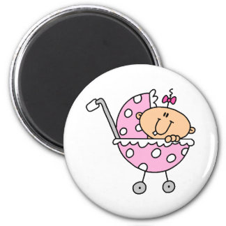 Pink Polka Dotted Stick Baby Girl Magnet