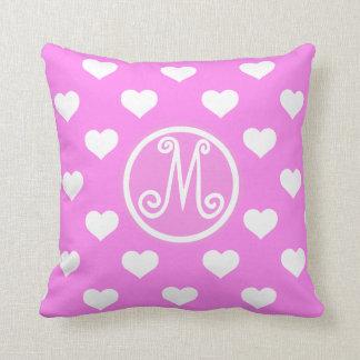 Pink Polka Heart Monogram Throw Pillow