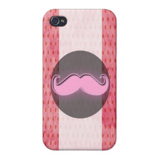 Pink polka mustache cases for iPhone 4