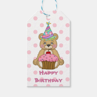 Pink Polkadot Bear Birthday Gift Tags