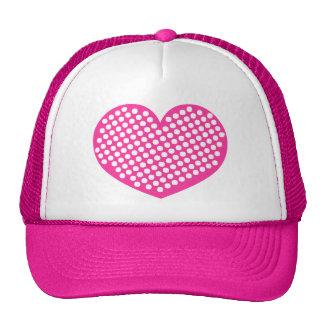 Pink Polkadot Heart Trucker Hats