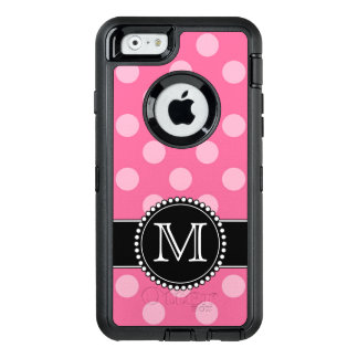 Pink Polkadot, Personalised, Monogrammed Defender OtterBox iPhone 6/6s Case