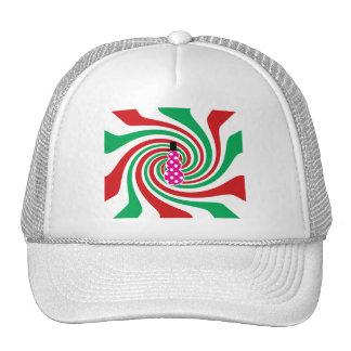 Pink polkadot snowman on red green swirl mesh hat