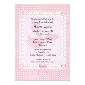 Pink Polkadot Stork Baby Shower Invitation
