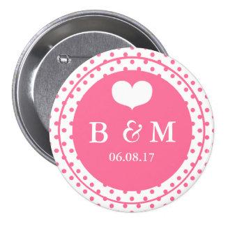Pink Polkadots & Monogram Wedding Button