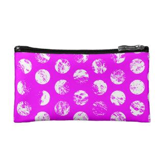 pink  polkadots square cosmetic bag